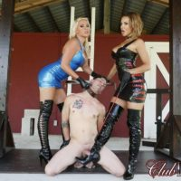 Clothed Dommes Cherry and Morgan give collared male slave the CBT treatment