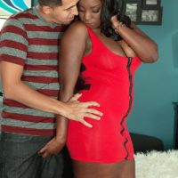 Curvy black MILF Mia Milan having her big booty freed from short dress and panties
