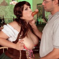 Fat female Brandy Ryder unleashing hooters before sucking and riding cock
