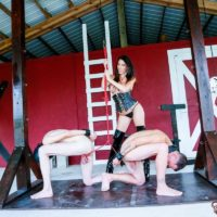Hot brunette Domme Dava FoXX abusing and humiliating 2 male submissives