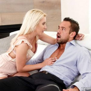 Young blonde girl Brooke Underhill consoles older man and fucks his big cock