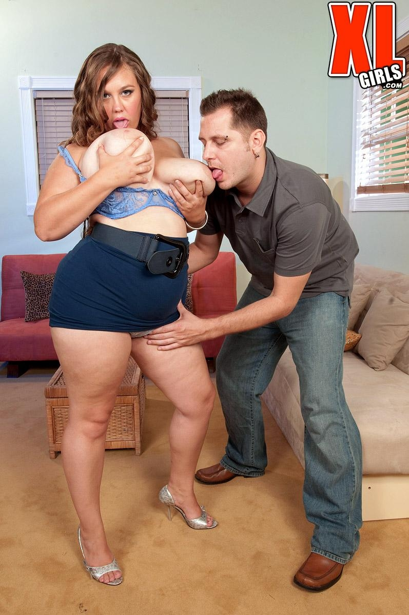 BBW Analee Sands has her big tits frees from her shirt and bra in a skirt