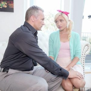 Young blonde girl Eliza Jane sucks and fucks a man as old as her father is