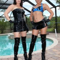 Clothed females Daisy Marina and Angel enjoy some CBT with a hooded male sub