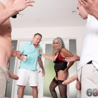 Mature woman Silva Foxx gives 2 men blowjobs in front of her cuckold husband