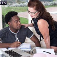 Over 60 lady Maria Fawndeli seduces a younger black man while tutoring him