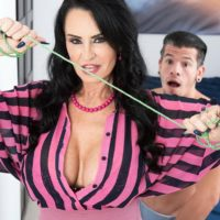Over 60 MILF Rita Daniels seduces her stepson and jerks his dick after stripping him