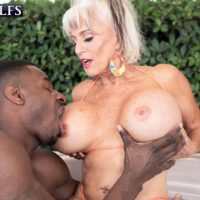 Sex granny Sally D'Angelo and her huge tits take on a BBC outdoors in a Jacuzzi