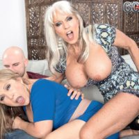 60 plus MILFs Sally D'Angelo and Luna Azul give a double handjob and blowjob