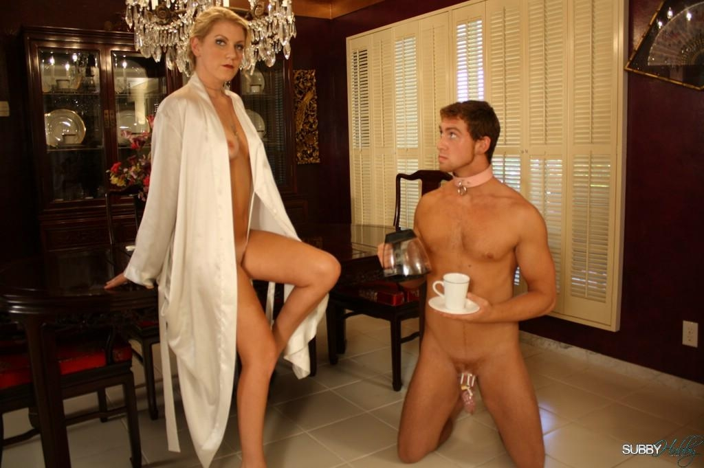 Blond wife Ashley Edmunds has her submissive husband suck another man's cock before she fucks him