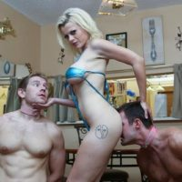 Blonde female Nadia White dominates two sissy men that worship her bare feet