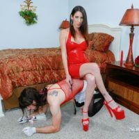 Long legged wife Dava Foxx has her crossdressing sissy worship her feet in a red dress