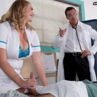 Blonde nurse Cameron Skye gets caught giving patient a handjob by a doctor