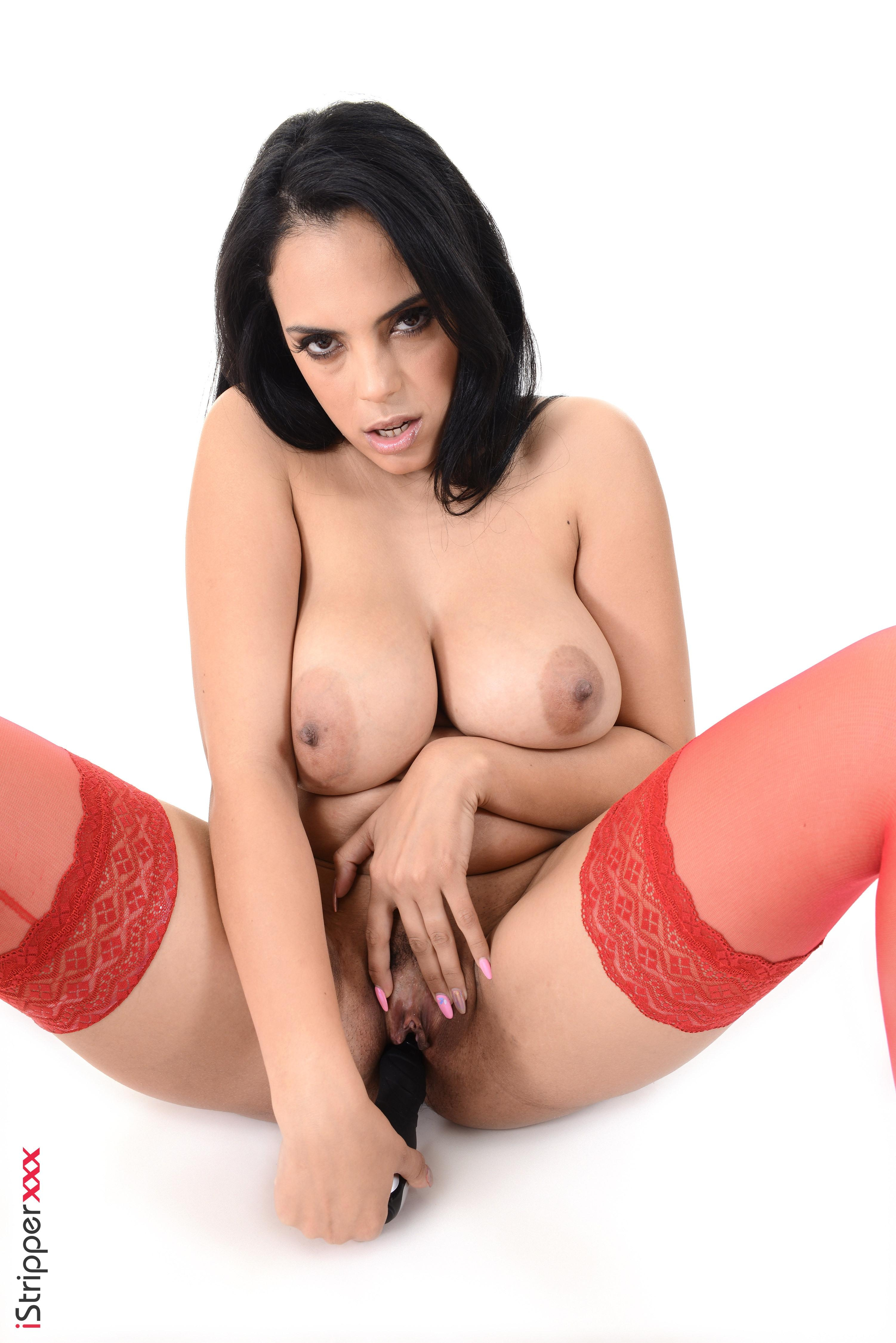 Dark haired solo model Katrina Moreno expose her hooters attired in red nylons
