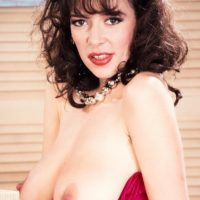 Solo model Diana Wynn shows off her large all natural boobs in black stockings