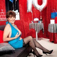 70 MILF Bea Cummins revealing big all natural mature tits on her birthday