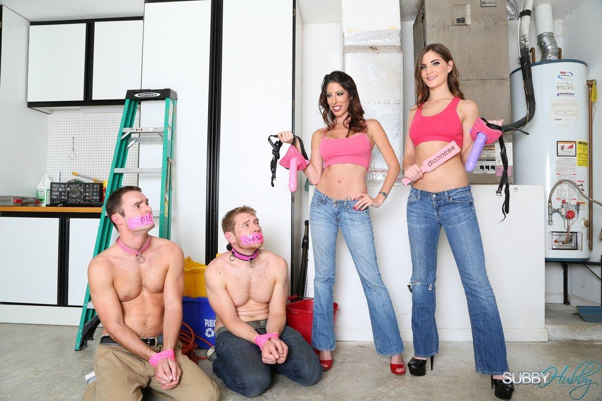 Clothed babes Dava and Molly dominate collared sissy boys in high heels and jeans