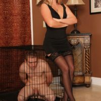 Cruel blonde wife Ashley Edmunds humiliating collared subby hubby