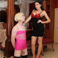 Dominant brunette wife Emmanuelle London humiliating crossdressing sissy maid