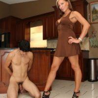 Leggy blonde wife Christine humiliating collared subby hubby in high heels