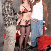 Stocking and lingerie attired MILF over 60 Donna Davidson having interracial MMF