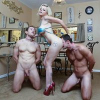 Tattooed blonde Nadia White having collared male subs worship barefeet