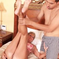 70 plus GILF Sandra Ann showing off great legs and ass before hardcore sex