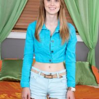 Blonde teen Lily Rader revealing small tits and panties after denim shorts removal