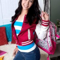Dark haired babe Alaina Kristar revealing nice teen ass underneath panties and jeans