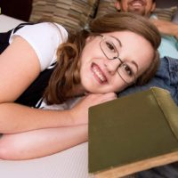 Glasses topped teen Marissa Mae having small tits exposed in knee socks