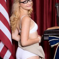 Glasses wearing blonde teen Aubrey Gold stripping down to bra and panties