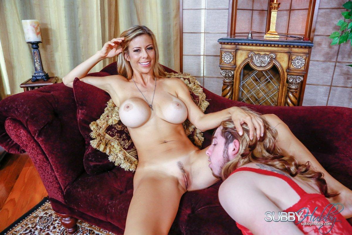 Leggy blonde pornstar Alexis Fawx having barefeet licked by crossdresser in lingerie