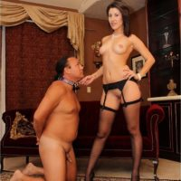 Leggy nylon and high heel garbed wife Missy Daniels humiliating subby hubby