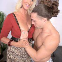 Mature blonde pornstar Madison Milstar baring big natural tits before hardcore sex