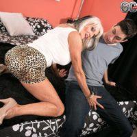 Over 60 MILF Sally D'Angelo flashing upskirt panties before giving hardcore BJ