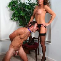 Stocking and high heel adorned wife Allura Sky dominating collared subby hubby