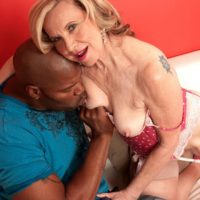 Stocking and high heel clad MILF over 60 Miranda Torri having hardcore interracial sex