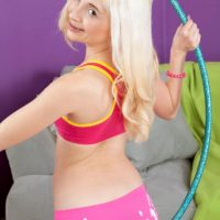 Barely legal blonde teen Piper Perri exposing small tits in shorts and socks