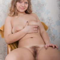 Blonde amateur Jamaica exposing big natural tits before spreading hairy vagina
