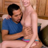 Blonde amateur Sammy Daniels having small breasts exposed before giving handjob