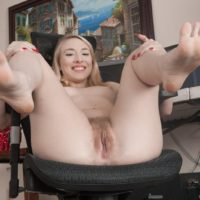 Blonde first timer in skirt rolling hose over sexy legs and feet before beaver spread