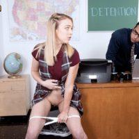 Blonde schoolgirl flashing upskirt panties before teacher licks shaved teen pussy