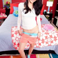 Brunette amateur Alaina Kristar baring tight teen ass and tiny tits in socks