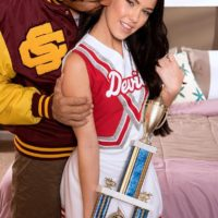 Brunette amateur Megan Rain having teen pussy licked in cheerleader uniform
