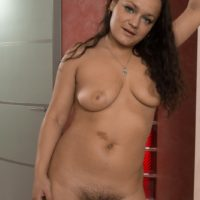 Busty brunette amateur Ericka Fly spreading hairy pussy after flashing furry armpits