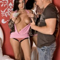 Busty brunette pornstar Veronica Rayne having tits sucked in exchange for money