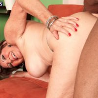 Busty MILF over 60 Bea Cummins fucking BBC while cuckold husband watches