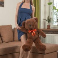 European first timer Darina Nikitina slipping off panties before toying hairy snatch