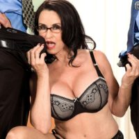 Leggy brunette Rita Daniels flashing mature upskirt panties before MMF 3some