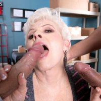 Over 60 mature pornstar Jewel blowing massive cocks during interracial MMF